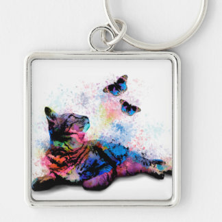 Cat 614 pink blue butterfly keychain