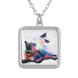 Cat 614 pink blue butterfly silver plated necklace