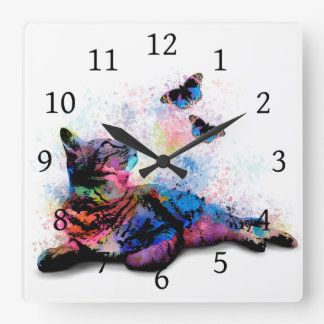 Cat 614 pink blue butterfly square wall clock