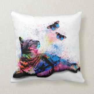 Cat 614 pink blue butterfly throw pillow