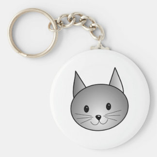 Cat. Adorable Gray Kitty Design. Keychain