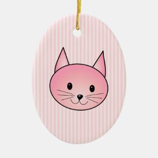 Cat. Adorable pretty pink kitty. Ceramic Ornament