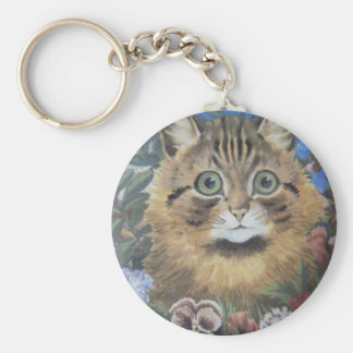 Cat Among the Flowers Louis Wain Artwork Keychain