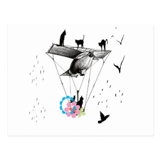 Cat and airplane postcard