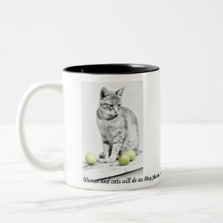 Cat and Apples Two-Tone Coffee Mug