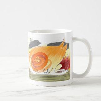 cat and bird basic white mug