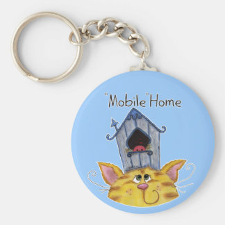 Cat and Bird House mobile home Basic Round Button Keychain