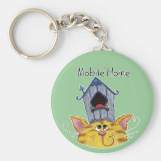 Cat and Bird House mobile home Keychains