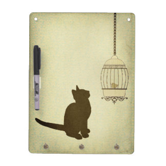 Cat and Birdcage Dry Erase Board