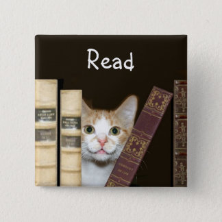 Cat and books 2 inch square button