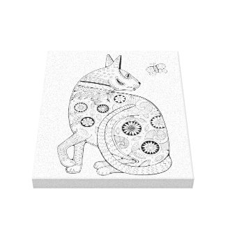Cat And Butterfly Line Art Design Canvas Print