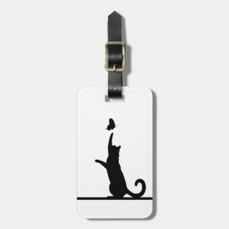 Cat and butterfly luggage tag