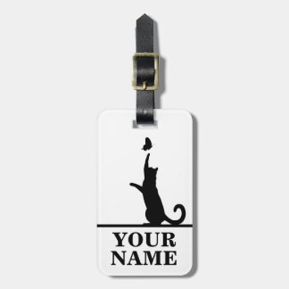 Cat and butterfly (name inserting) luggage tag