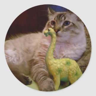 cat and dinosaur picture 1 Sticker