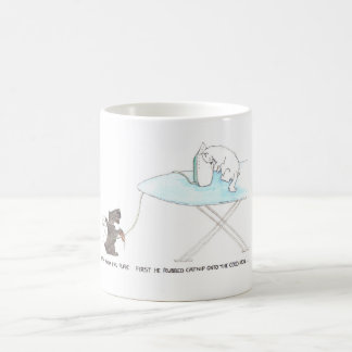 Cat and dog cartoon funny, Scottish Terrier. Coffee Mug