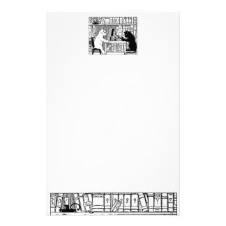 Cat and Dog in the Library Stationery