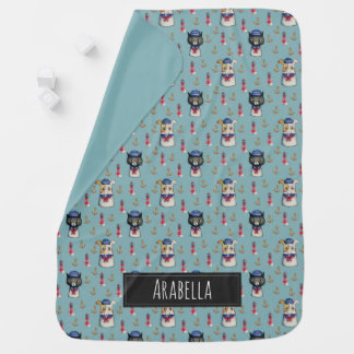 Cat and Dog Nautical Pattern | Add Your Name Baby Blanket