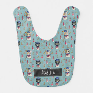 Cat and Dog Nautical Pattern | Add Your Name Bib