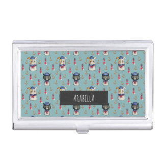 Cat and Dog Nautical Pattern | Add Your Name Business Card Holder