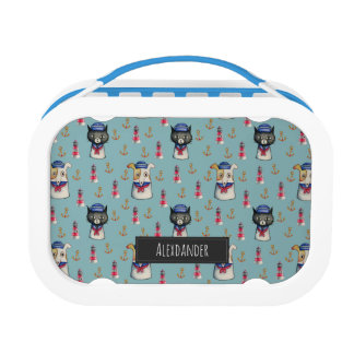 Cat and Dog Nautical Pattern | Add Your Name Lunch Box