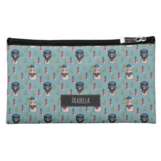 Cat and Dog Nautical Pattern | Add Your Name Makeup Bag
