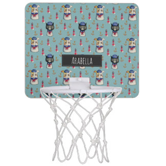 Cat and Dog Nautical Pattern | Add Your Name Mini Basketball Hoop