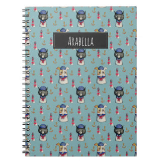 Cat and Dog Nautical Pattern   Add Your Name Notebook