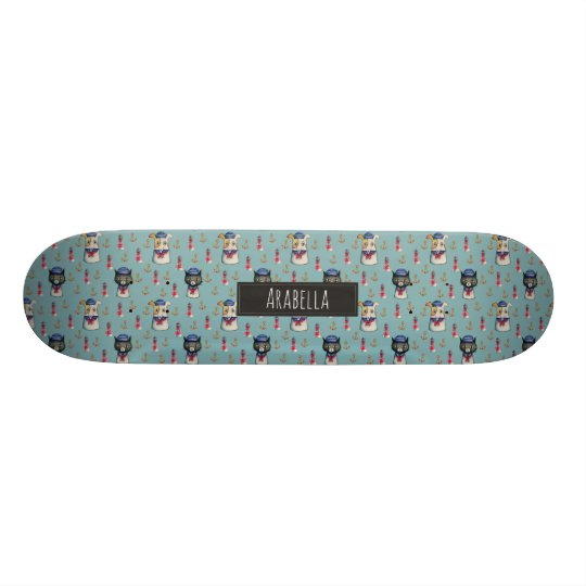 Cat and Dog Nautical Pattern | Add Your Name Skate Board