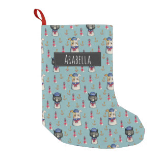 Cat and Dog Nautical Pattern | Add Your Name Small Christmas Stocking