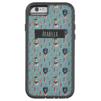 Cat and Dog Nautical Pattern   Add Your Name Tough Xtreme iPhone 6 Case