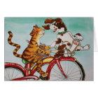 Cat and Dog on Bike Card