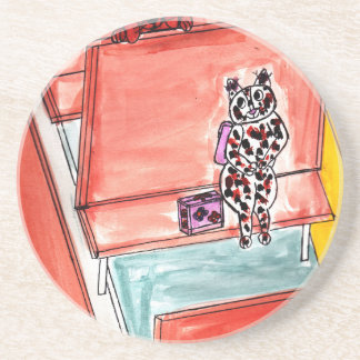 Cat and Dog on School Bus Drink Coasters