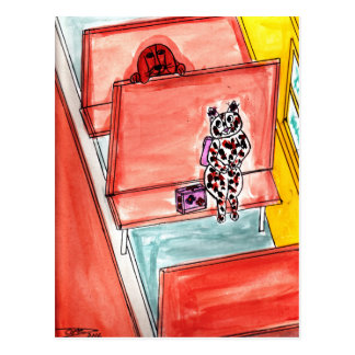 Cat and Dog on School Bus Postcard