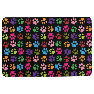 Cat and Dog Paw Prints in Pink, Blue Purple, Green Floor Mat