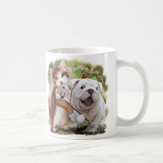 Cat and dog pose for a selfie coffee mug