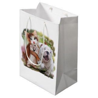Cat and dog pose for a selfie medium gift bag