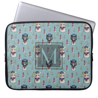 Cat and Dog Sailors Nautical Pattern | Monogram Laptop Sleeve