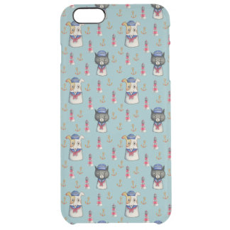 Cat and Dog Sailors Nautical Watercolor Pattern Clear iPhone 6 Plus Case