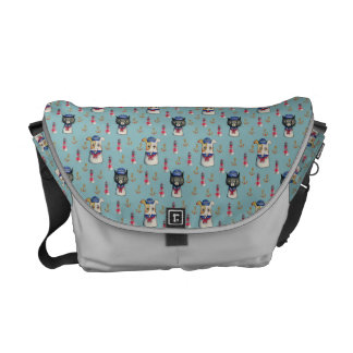 Cat and Dog Sailors Nautical Watercolor Pattern Courier Bag