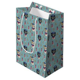 Cat and Dog Sailors Nautical Watercolor Pattern Medium Gift Bag