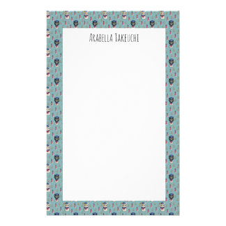 Cat and Dog Sailors Nautical Watercolor Pattern Stationery