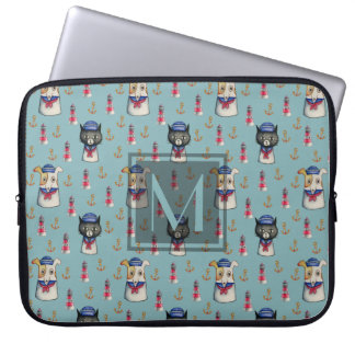 Cat and Dog Sailors Watercolor Pattern | Monogram Laptop Sleeve