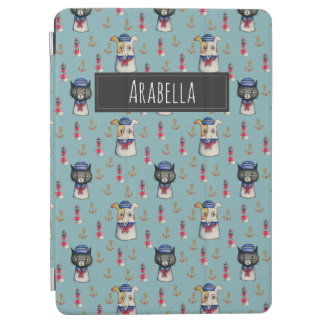 Cat and Dog Sailors Watercolor Pattern with Name iPad Air Cover