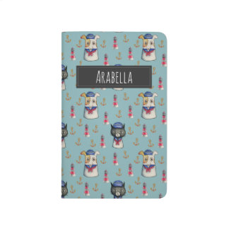 Cat and Dog Sailors Watercolor Pattern with Name Journal