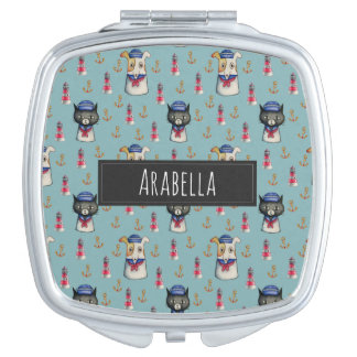 Cat and Dog Sailors Watercolor Pattern with Name Mirrors For Makeup