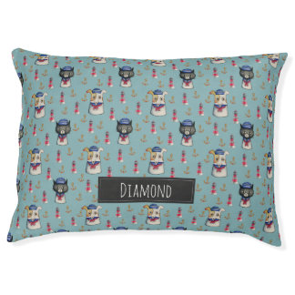 Cat and Dog Sailors Watercolor Pattern with Name Pet Bed