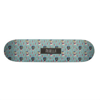 Cat and Dog Sailors Watercolor Pattern with Name Skate Board
