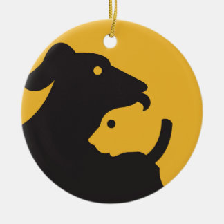 Cat and Dog Silhouette Ceramic Ornament