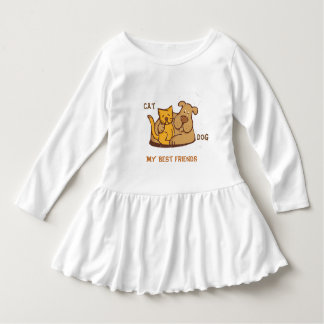 Cat and Dog Toddler Ruffle Dress