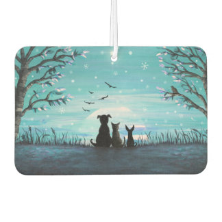 Cat and dogs Winter Sunset Air Freshener